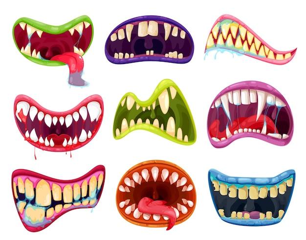 Conjunto de boca e dentes de monstros de halloween. desenhos animados de expressões de sorriso assustador com línguas de animais alienígenas, lábios assustadores de criaturas de vampiros, animais, demônios ou demônios e presas com sangue e saliva Vetor Premium