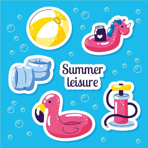 Conjunto de bóia inflável para natação. adesivos de verão festa de praia Vetor Premium