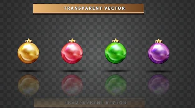 Conjunto de bola de coleção colorido fundo transparente de feliz natal Vetor grátis