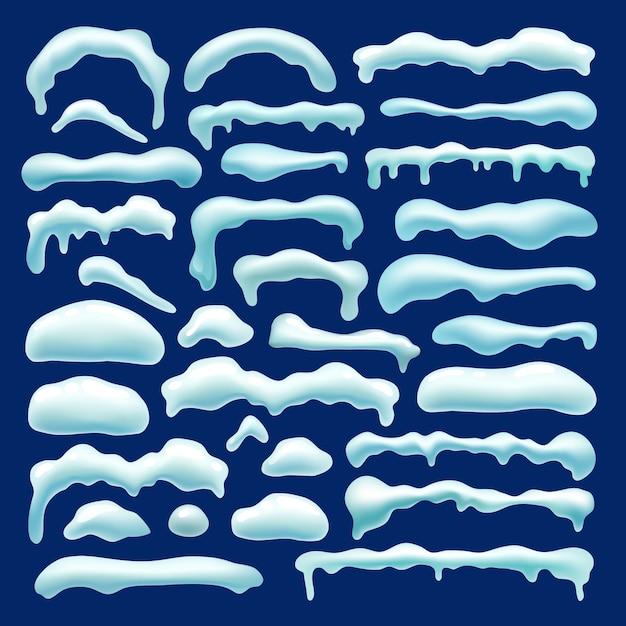 Conjunto de bola de neve, tampas de neve, pingentes de gelo, monte de neve. Vetor grátis