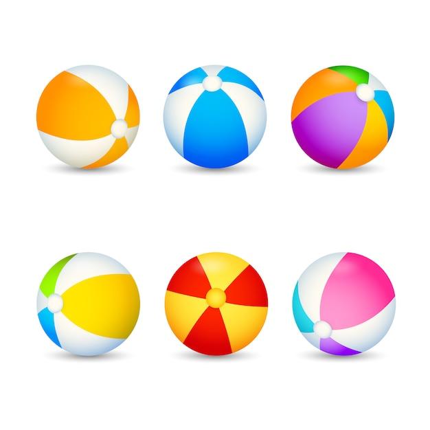 Conjunto de bola de praia colorida Vetor grátis