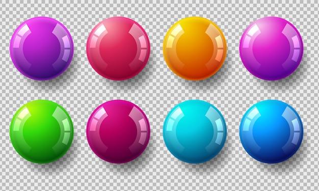 Conjunto de bolas coloridas brilhantes em fundo transparente Vetor Premium