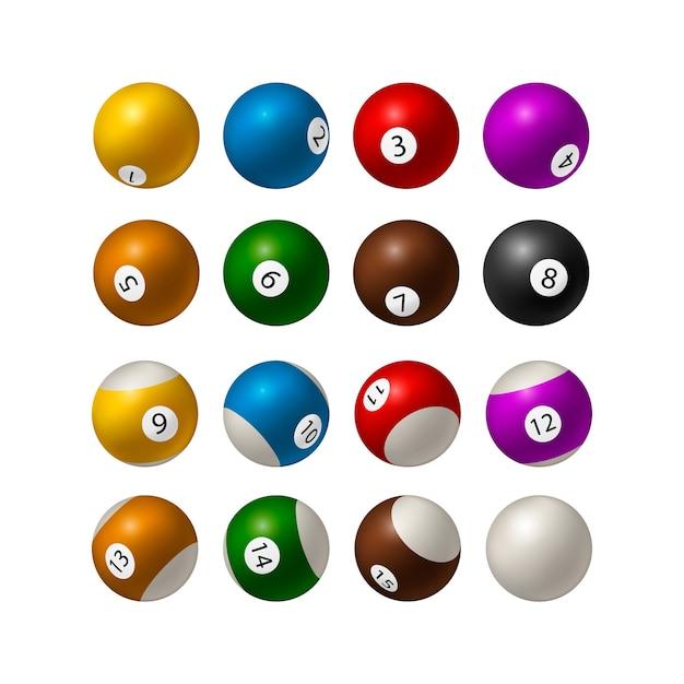 Conjunto de bolas de bilhar em fundo branco. ilustração Vetor Premium