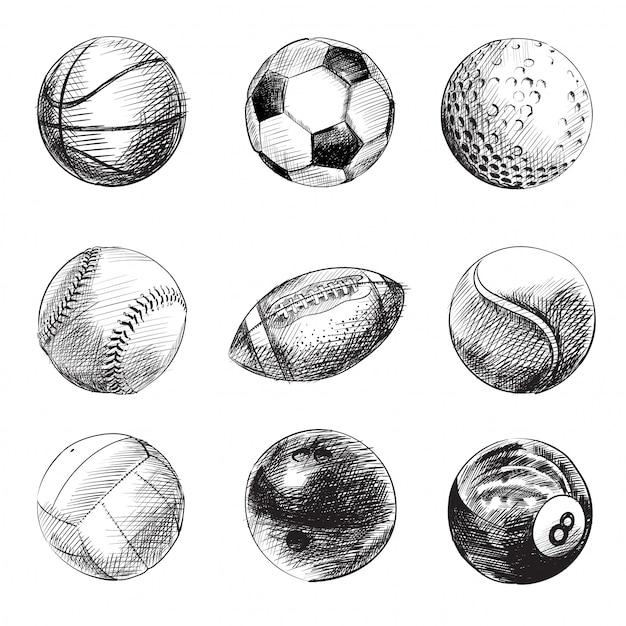 Conjunto de bolas de esporte preto e branco Vetor Premium
