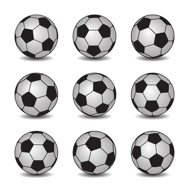 Conjunto de bolas de futebol realista com sombras Vetor Premium