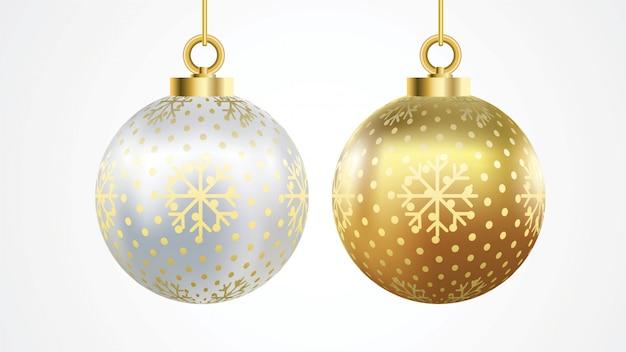 Conjunto de bolas de natal ouro e prata de vetor com ornamentos Vetor Premium