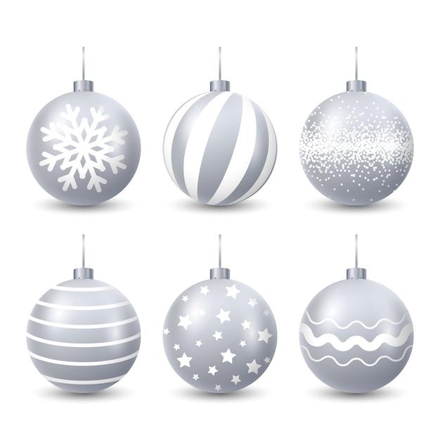 Conjunto de bolas de natal realista Vetor grátis