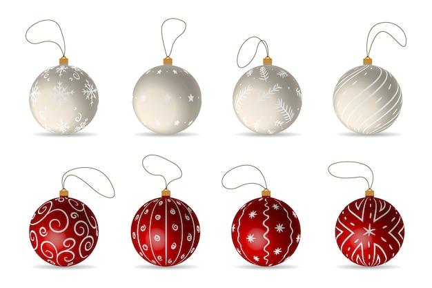 Conjunto de bolas de natal Vetor Premium