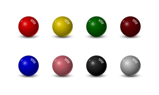 Conjunto de bolas de sinuca em fundo branco Vetor Premium