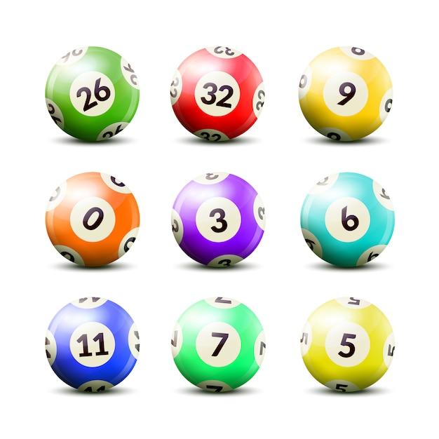 Conjunto de bolas numeradas de loteria Vetor grátis