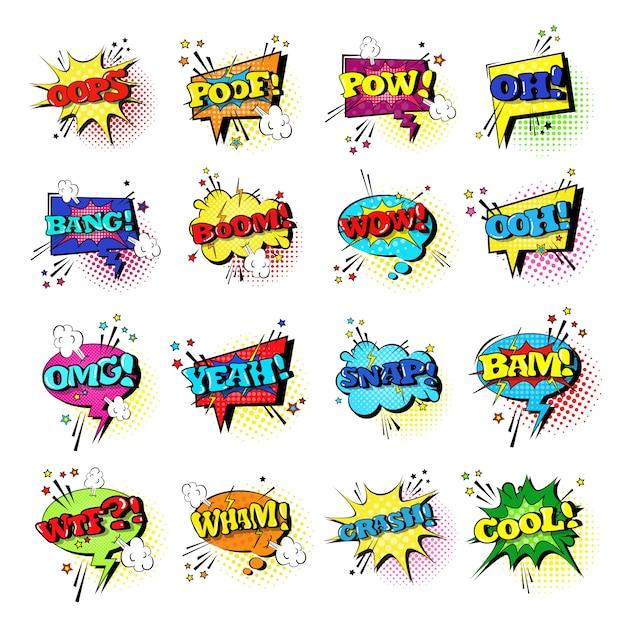 Conjunto de bolha de discurso em quadrinhos conjunto de ícones de texto de expressão em som estilo pop art Vetor Premium