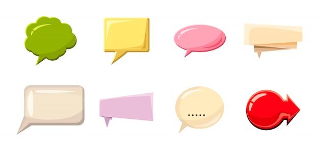 Conjunto de bolha do discurso. conjunto de desenhos animados de bolha do discurso Vetor Premium