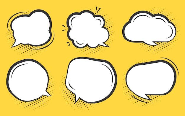 Conjunto de bolha do discurso em quadrinhos. desenhos animados nuvens de texto vazio com sombra de ponto de meio-tom. diferentes formas em branco pop art linha doodle bolhas. modelo de balão de mensagem de quadrinhos. isolado em laranja Vetor Premium