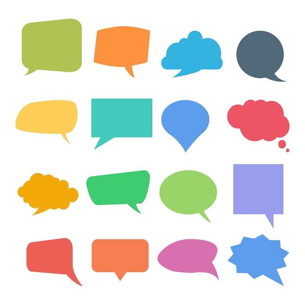 Conjunto de bolhas coloridas de citação ou discurso Vetor Premium