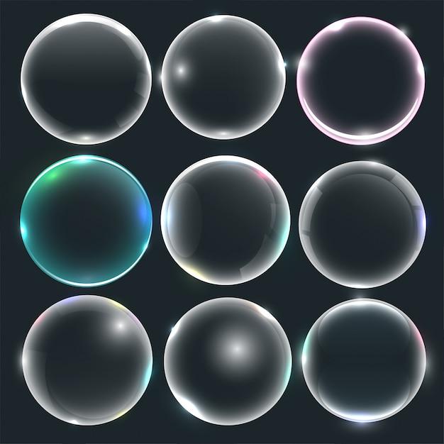 Conjunto de bolhas de água ou sabão Vetor grátis