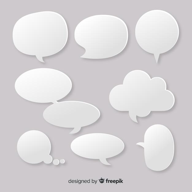 Conjunto de bolhas de discurso vazio design plano em estilo de jornal Vetor grátis