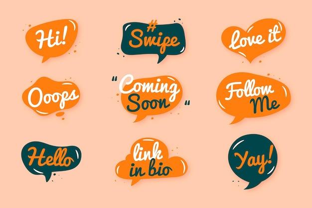 Conjunto de bolhas de gíria de mídias sociais Vetor Premium
