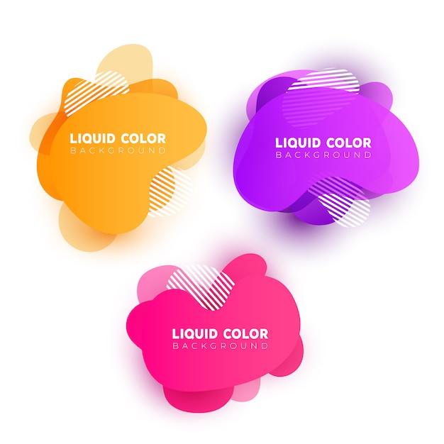 Conjunto de bolhas de gradiente de plástico líquido. Vetor Premium