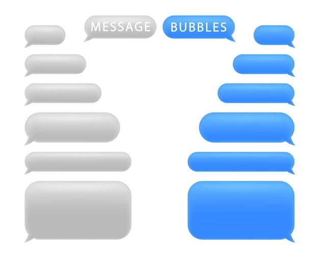 Conjunto de bolhas de mensagem. bolhas do discurso do bate-papo. Vetor Premium