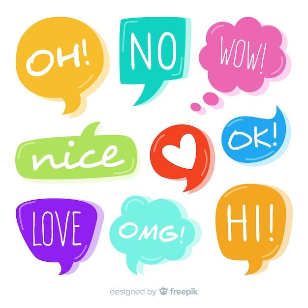 Conjunto de bolhas do discurso colorido com diferentes expressões Vetor grátis