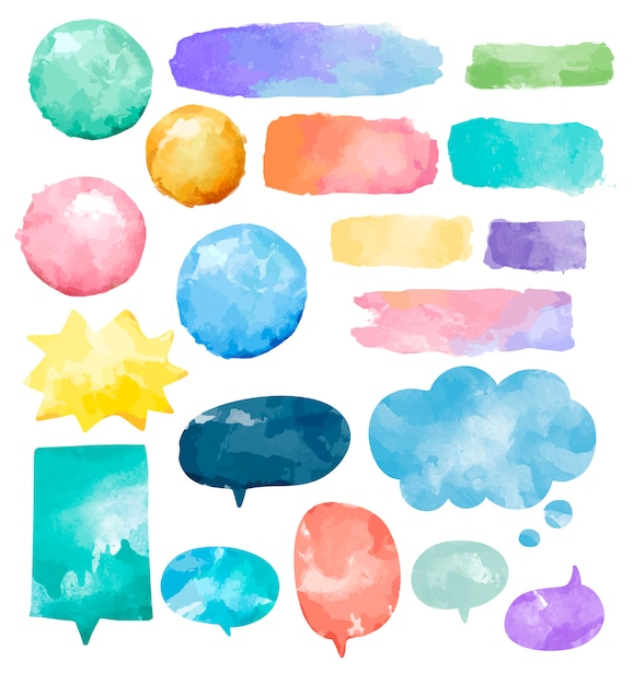 Conjunto de bolhas do discurso de aquarela colorida Vetor grátis