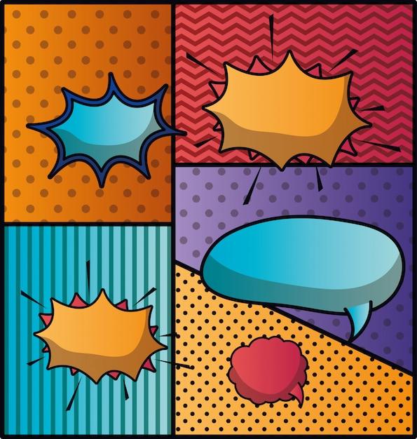 Conjunto de bolhas do discurso e expressões pop art fundo Vetor Premium