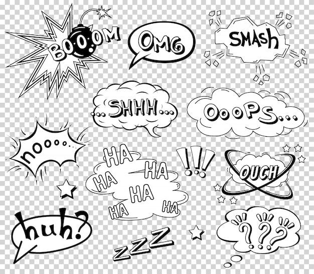 Conjunto de bolhas do discurso em quadrinhos, formulação de efeito sonoro Vetor Premium