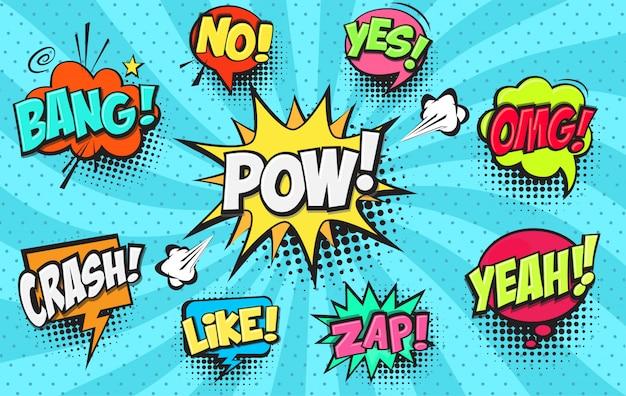 Conjunto de bolhas do discurso em quadrinhos Vetor Premium