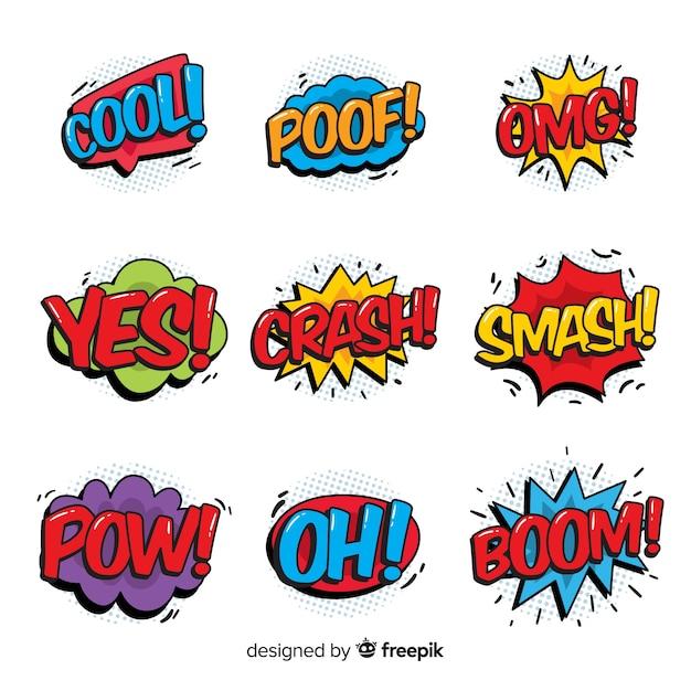 Conjunto de bolhas do discurso em quadrinhos Vetor grátis
