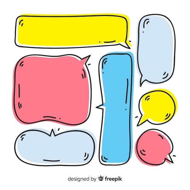 Conjunto de bolhas do discurso mão desenhada Vetor grátis