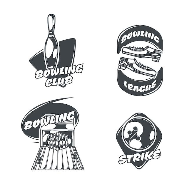 Conjunto de boliche com quatro logotipos isolados em estilo vintage Vetor grátis
