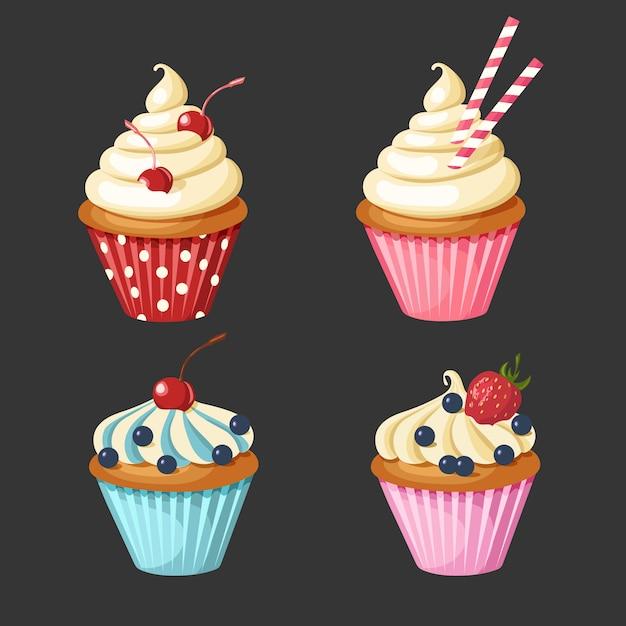 Conjunto de bolinhos doces. pastelaria decorada com cereja, morangos, mirtilos, doces. Vetor Premium