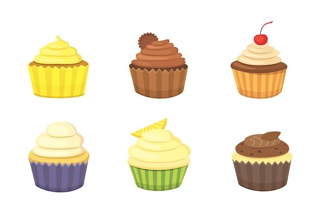 Conjunto de bolinhos e bolinhos fofos. cupcake colorido para cartaz de comida. Vetor Premium