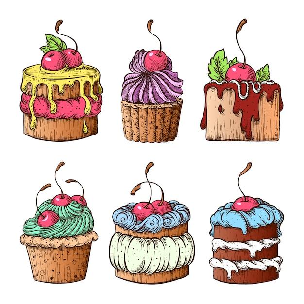 Conjunto de bolos com cerejas. Vetor Premium