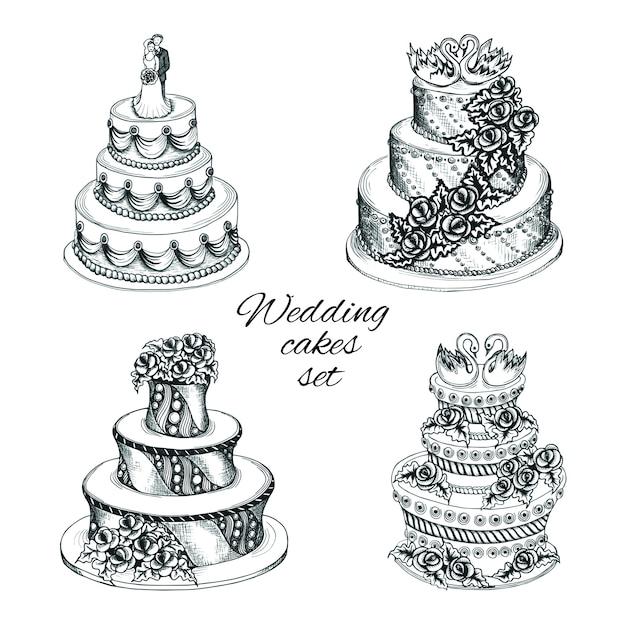 Conjunto de bolos de casamento Vetor grátis