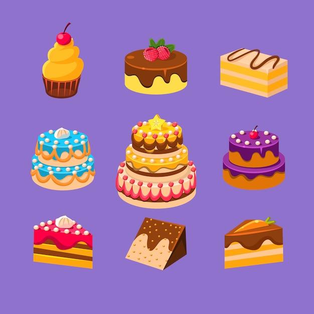 Conjunto de bolos e sobremesas Vetor Premium
