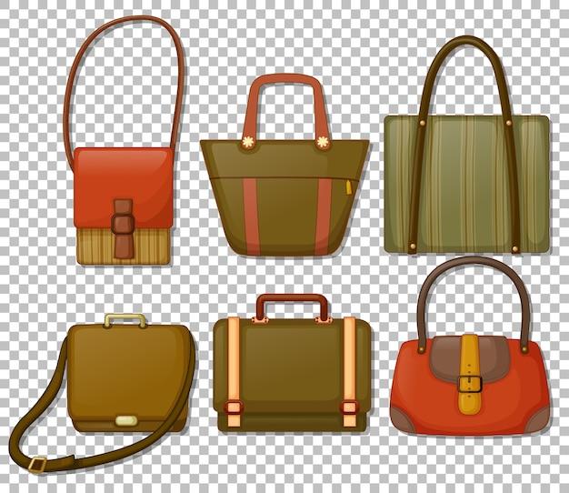 Conjunto de bolsas de mão vintage estilo cartoon isolado Vetor grátis