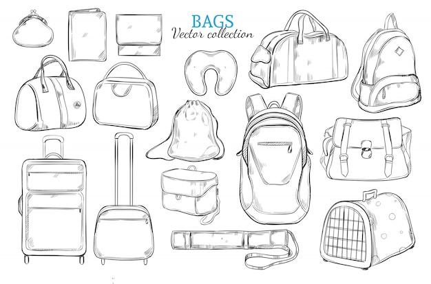Conjunto de bolsas de viagem desenhadas à mão Vetor grátis