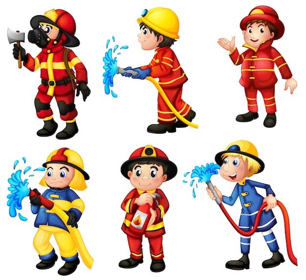 Conjunto de bombeiros Vetor Premium