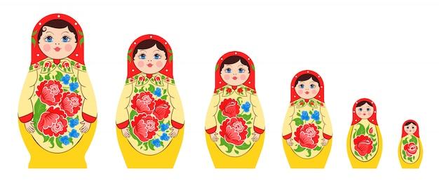 Conjunto de boneca russa aninhada Vetor grátis