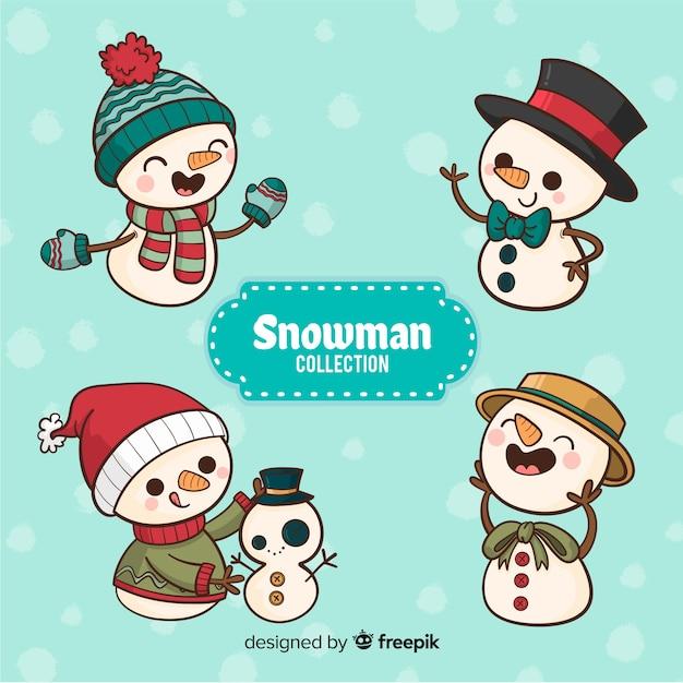 Conjunto de boneco de neve desenhado de mão Vetor grátis
