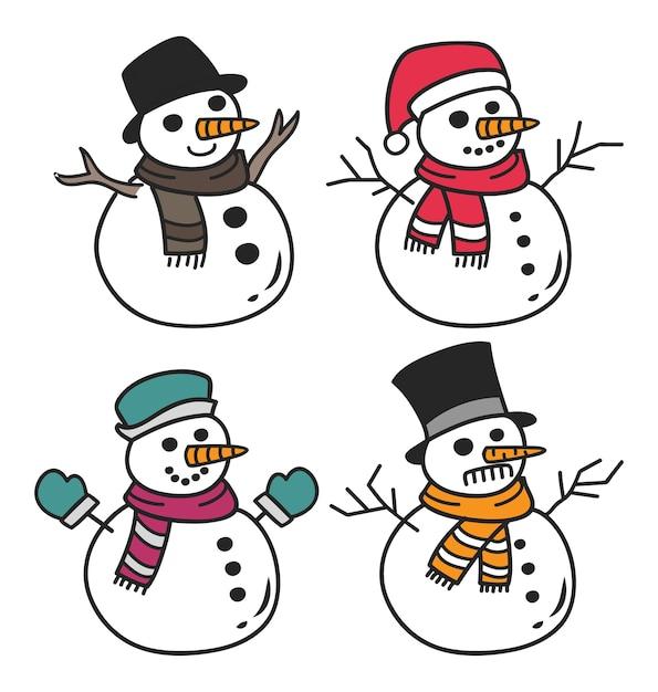 Conjunto De Boneco De Neve Dos Desenhos Animados Isolado