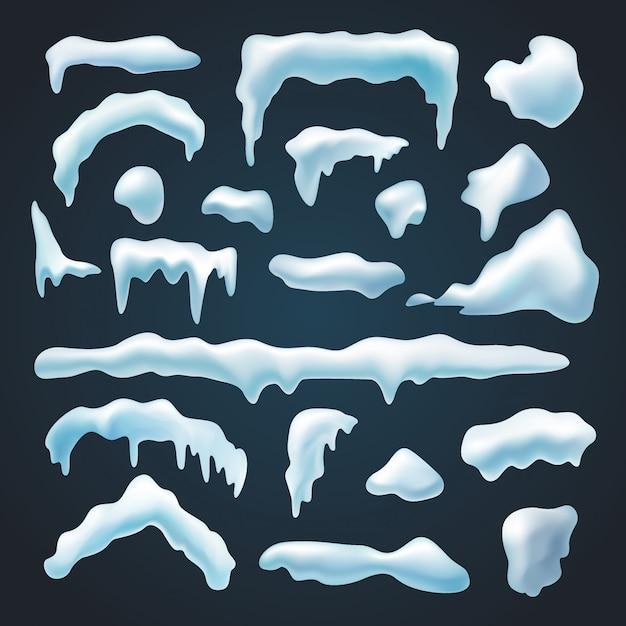 Conjunto de bonés de neve Vetor Premium