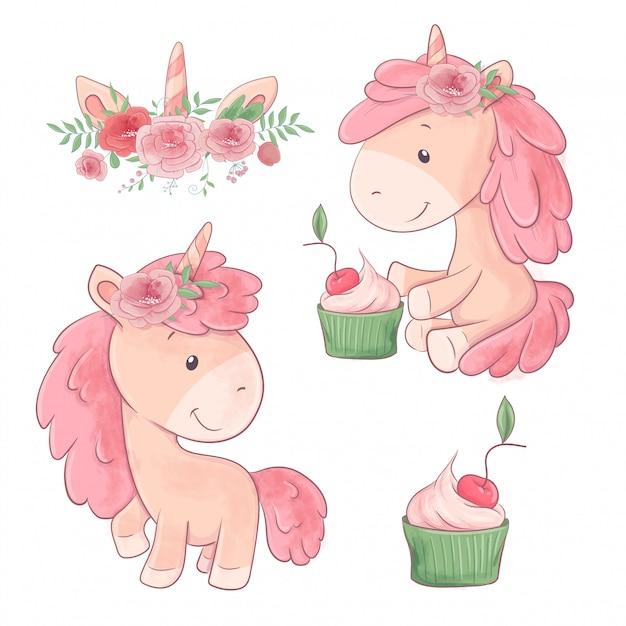 Conjunto de bonito dos desenhos animados dois unicórnios com flores e cupcake. Vetor Premium