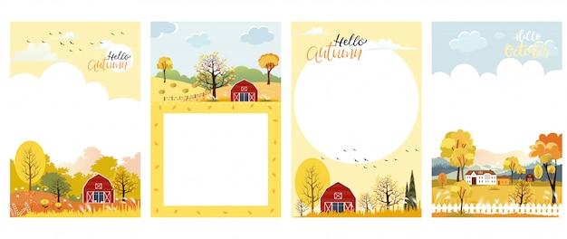 Conjunto de bonito dos desenhos animados outono paisagem fazenda fild com espaço de cópia Vetor Premium