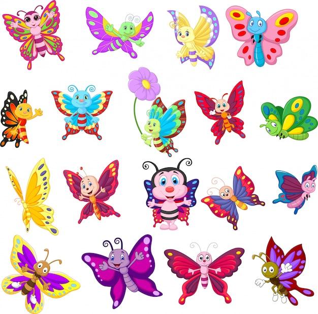 Conjunto de borboletas dos desenhos animados Vetor Premium