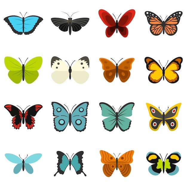 Conjunto de borboletas ícones planas Vetor Premium