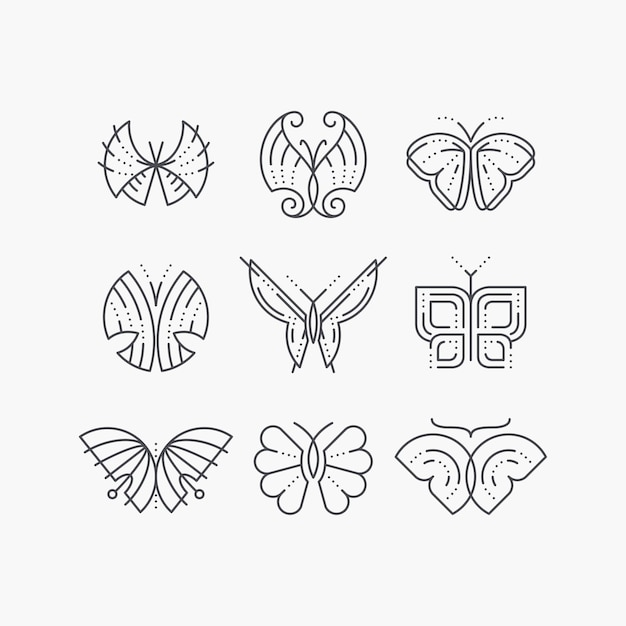 Conjunto de borboletas vazias de linha. ícones da moda de contorno gráfico monocromático, logotipos, marcas. Vetor Premium
