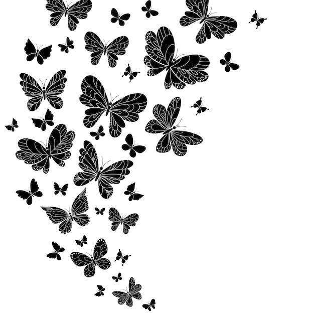 Conjunto de borboletas voadoras em preto e branco com asas abertas Vetor grátis