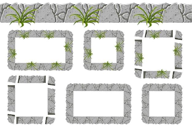 Conjunto de borda de pedra cinza velha e quadros com grama. Vetor grátis